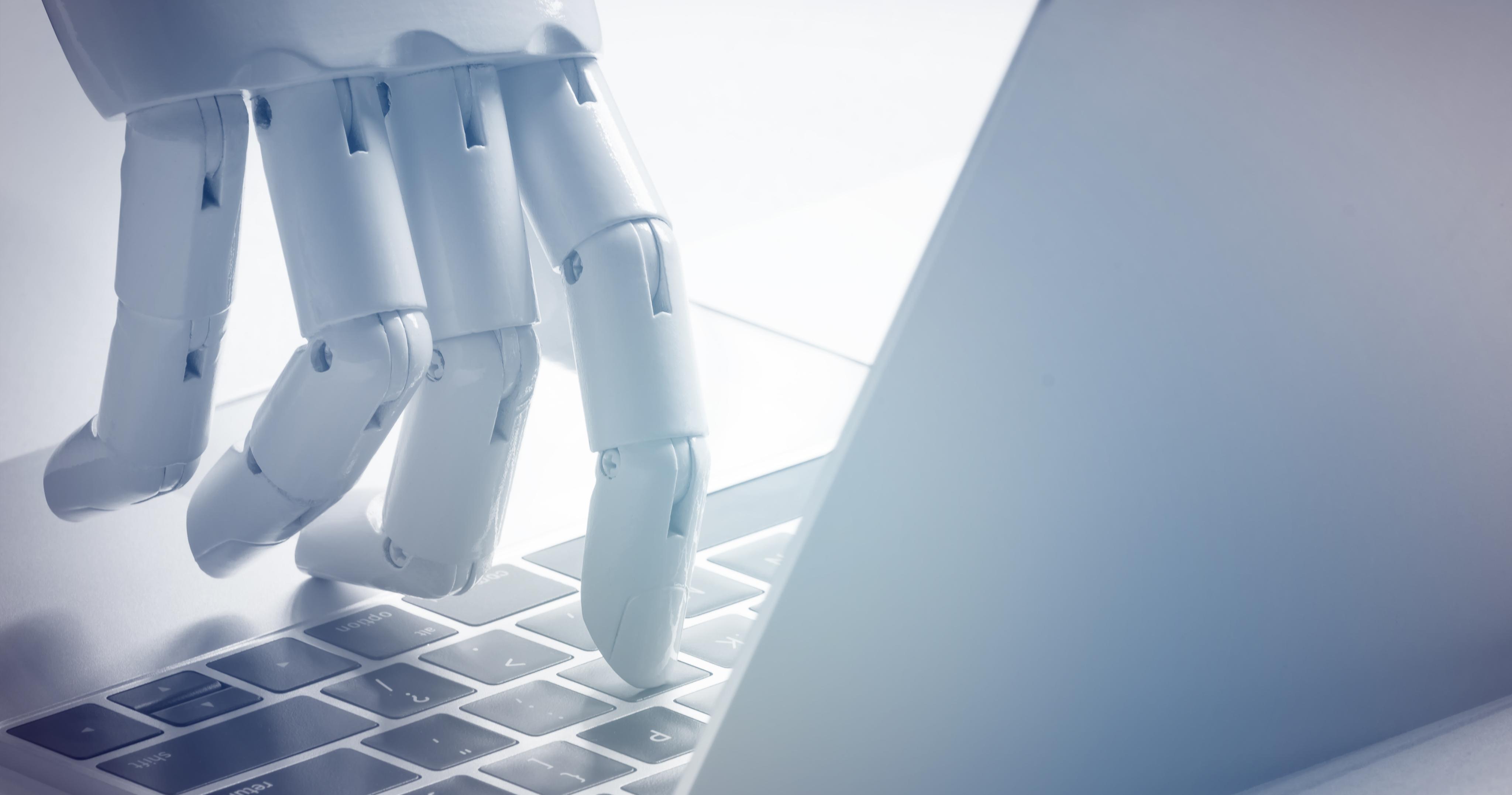 Robot clicking on keyboard