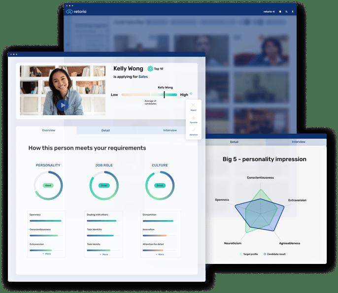 Product screen Retorio ;  pre-employment assessment