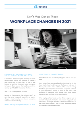 Workplace changes in 2021
