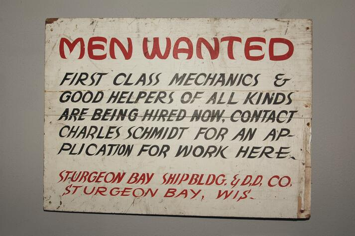 """Banner """" Men wanted"""" ; pre-employment assessment"""