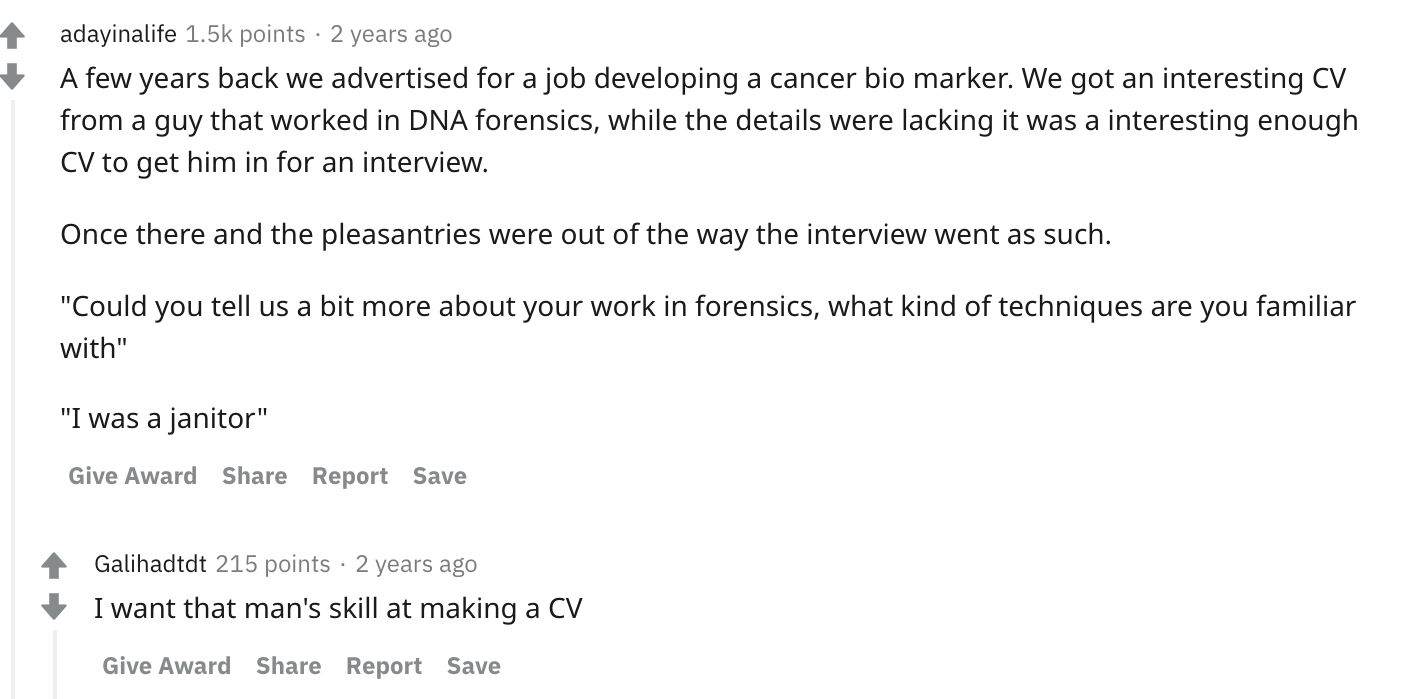 A few years ago we advertised for a job developing a cancer bio marker; pre-employment assessment